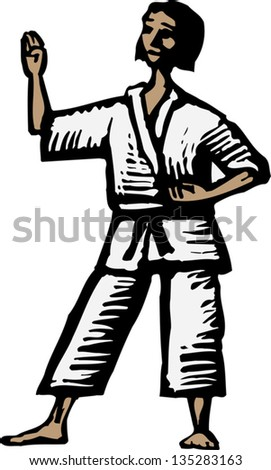 Vector illustration of Woman Practicing Martial Arts