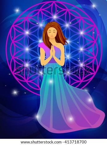 Vector illustration of woman praying on abstract blue background - stock vector