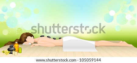 vector illustration of woman receiving hot stone therapy in spa - stock vector