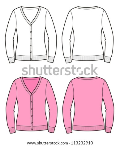 Vector illustration of woman's cardigan. Front and back views. Knitwear - stock vector