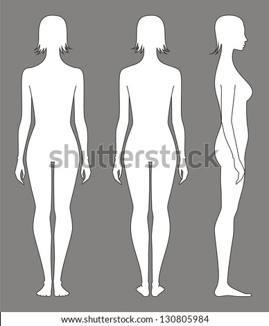 Vector illustration of woman's figure. Silhouettes. Front, back, side views - stock vector