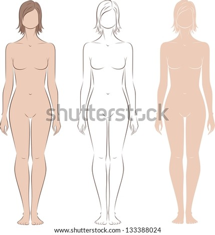 Vector illustration of woman's figure. Silhouettes. Three options - stock vector