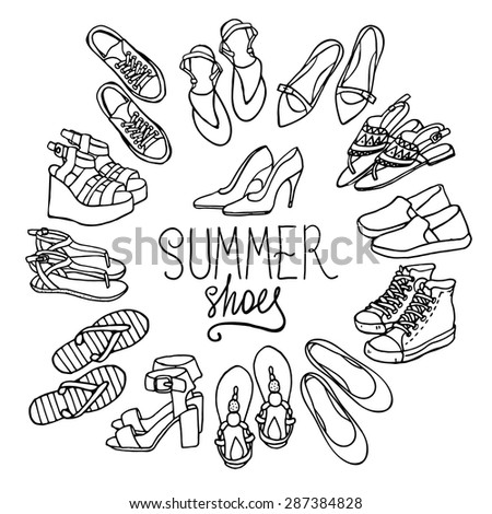Vector illustration of woman shoes set. Hand-drown objects illustrations. Black and white fashion collection. - stock vector