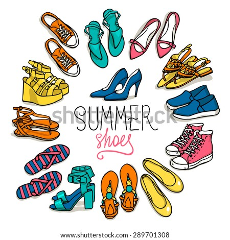 Vector illustration of woman shoes set. Hand-drown objects illustrations. Spring-summer fashion collection. - stock vector
