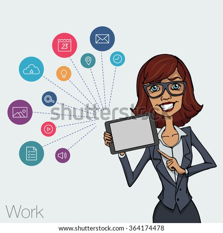Vector illustration of woman showing tablet screen for presentation app. Tools for remote network via mobile devices. Girl with tablet computer. Cloud services and technologies network. Icon set app - stock vector