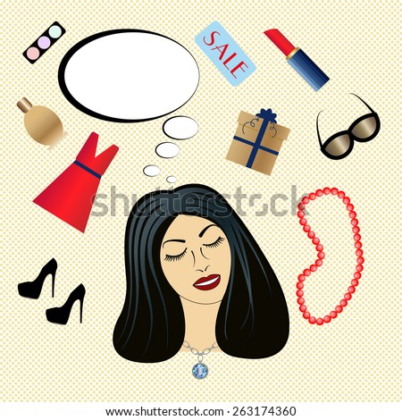 Vector illustration of woman thinking about things. - stock vector