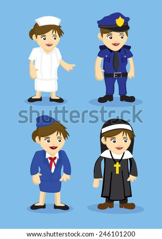 Vector illustration of woman uniform for different jobs and professions. Set of four icons isolated on blue background. - stock vector