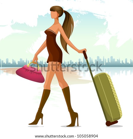 vector illustration of woman walking with travel bag - stock vector