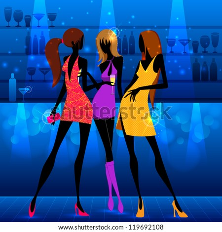 vector illustration of woman with drink enjoying in party - stock vector