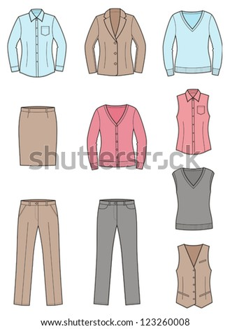Vector illustration of women's business clothes: shirt, jacket, jumper, vest, cardigan, pants, skirt. Business style - stock vector