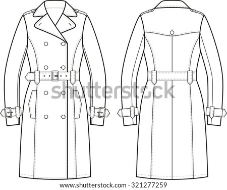 Vector Illustration Womens Doublebreasted Trench Coat ...