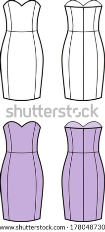 Vector illustration of women's dress. Front and back views
