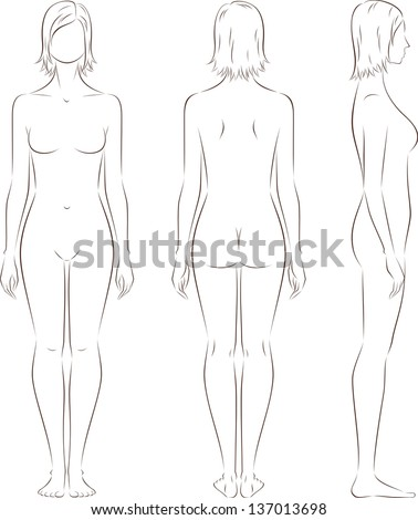 Vector illustration of women's figure. Front, back, side views. Silhouettes - stock vector