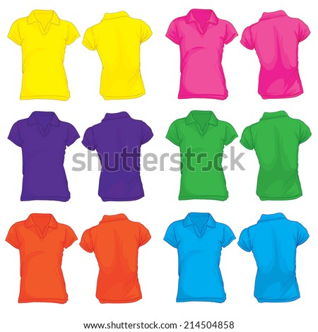 Vector illustration of women's polo shirt template in many color, front and back design - stock vector