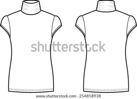 Vector illustration of women's short-sleeve turtleneck. Front and back views - stock vector