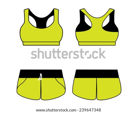 Vector illustration of women's sport underwear. Bra and shorts. Front and back views