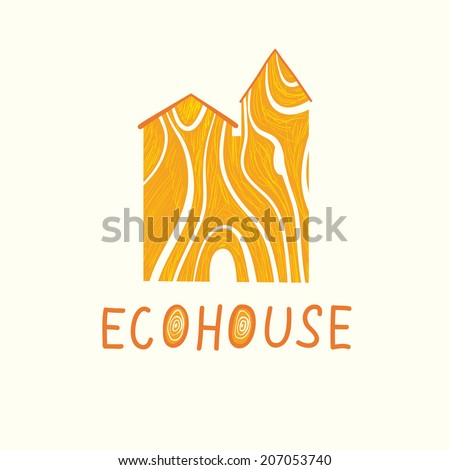 Vector illustration of wood ecohouse. Ecological and biosecurity theme - stock vector