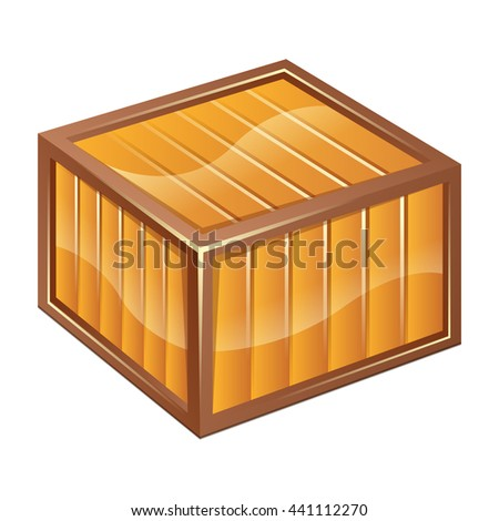 Vector illustration of wooden box icon isolated on white background