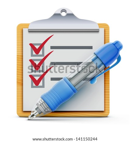 Vector illustration of wooden clipboard with check list and detailed blue ballpoint pen isolated on white background. - stock vector
