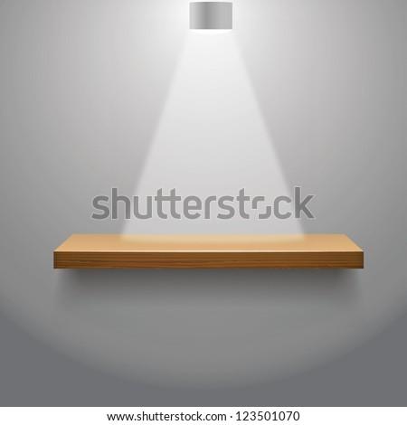 vector illustration of Wooden  empty shelf for exhibit - stock vector