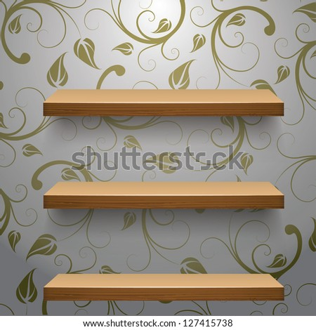 vector illustration of Wooden  empty three shelves  for exhibit with abstract floral pattern - stock vector
