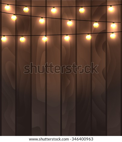 Vector Illustration Of Wooden Planks Background With Lighting Garland Festive Decoration Strings Round