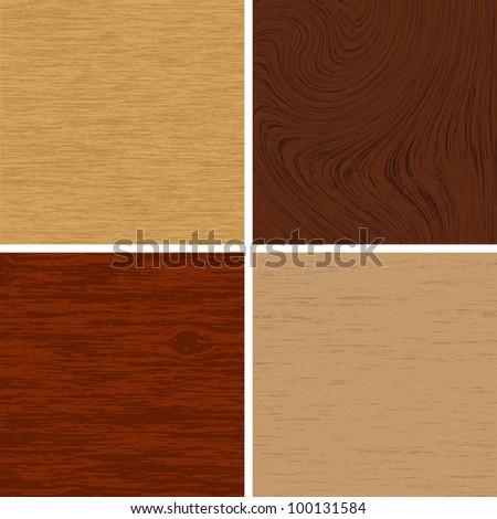 Vector illustration of wooden textures - stock vector