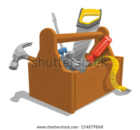 Vector illustration of wooden toolbox with repairing tools. - stock vector