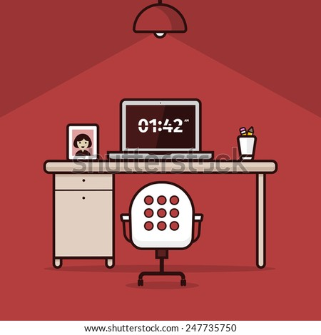 Vector illustration of work place on red background - stock vector