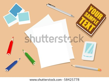 vector illustration of work place with a lot of objects - stock vector
