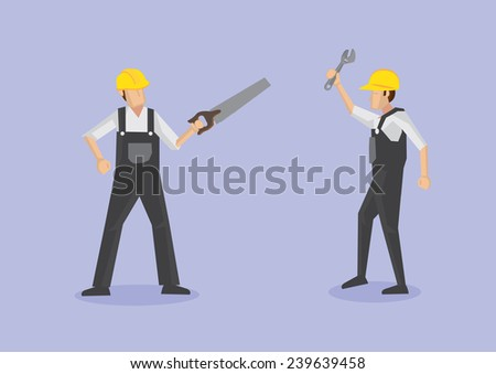 Vector illustration of worker in front view with crosscut saw and worker in profile view with adjustable spanner isolated on plain purple background - stock vector