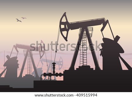 Vector illustration of Working Oil Pumps and Drilling Rig, Oil Pump, Petroleum Industry - stock vector