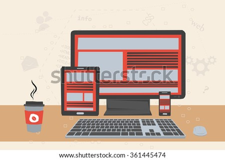 Vector illustration of working place of programmer. Concept of web adaptive design. Smartphone, tablet ,computer, mouse, coffee on table. Flat style. On background with different web elements - stock vector