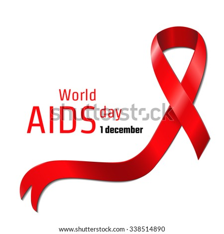 Vector Illustration of world AIDS day in December 1 for Design, Website, Background, Banner. Red Ribbon Symbol of hope Element Template - stock vector