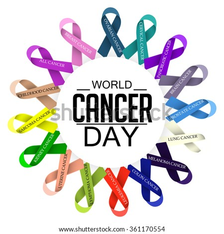 Vector illustration of World Cancer Day with ribbon. - stock vector