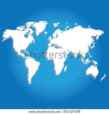 Vector illustration of world map - stock vector