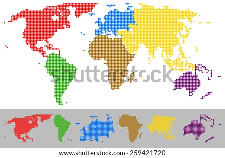 Vector illustration of World map dotted colorful continents with different color for each continent. - stock vector
