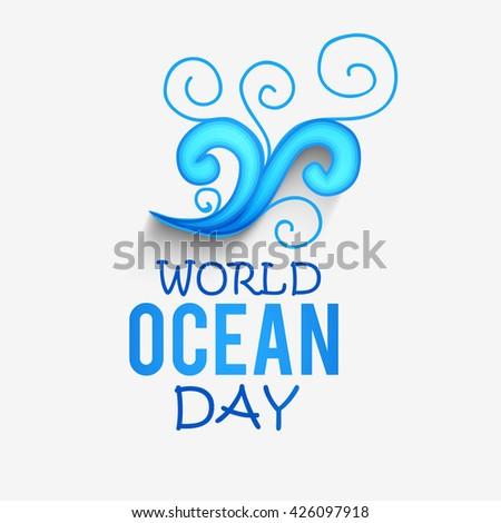 Vector illustration of world oceans day. - stock vector