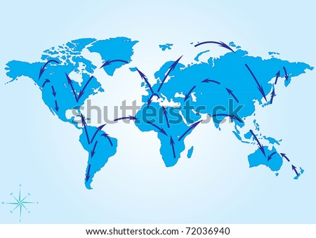 vector illustration of world travel map eps8 - stock vector