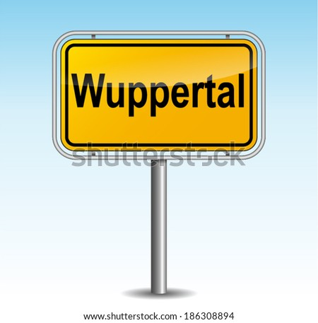 Vector illustration of wuppertal signpost on sky background - stock vector