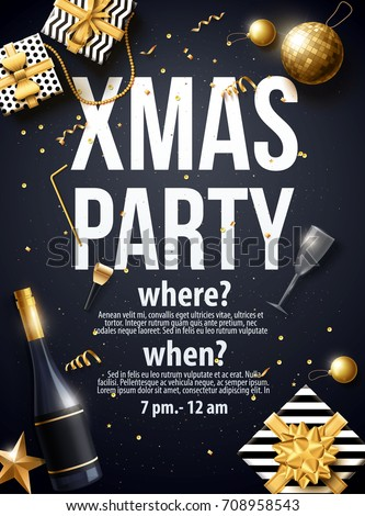 vector illustration of xmas party 2018  gold and black collors place for text christmas balls happy new year theme