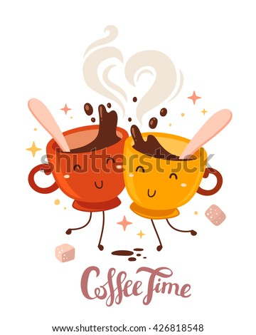 Vector illustration of yellow and red smile friend girl characters dancing cups of coffee with steam and sugar on white background. Coffee time concept. Hand drawn colorful art design of cup of coffee - stock vector
