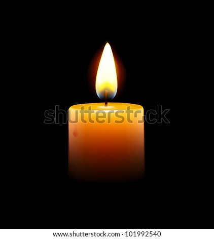 Vector illustration of yellow candle on black background - stock vector