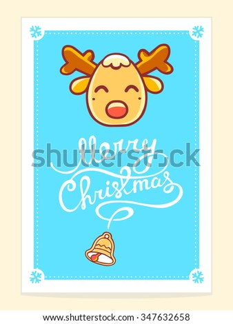 Vector illustration of yellow christmas deer with white hand written text on blue background. Bright color. Hand draw line art design for web, site,poster,brochure,template,print and greeting card.  - stock vector