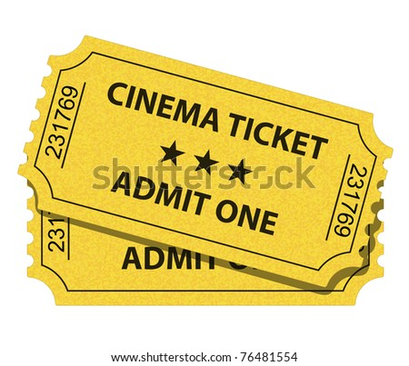 Vector illustration of yellow cinema ticket - stock vector