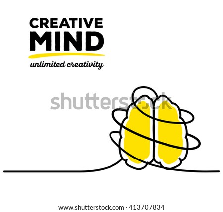 Vector illustration of yellow color brain with black wire and text on white background. Unlimited creativity concept. Thin line art flat design of brain for idea and creative mind theme - stock vector