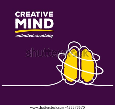 Vector illustration of yellow color brain with white wire and text on purple background. Unlimited creativity concept. Thin line art flat design of brain for idea and creative mind theme - stock vector
