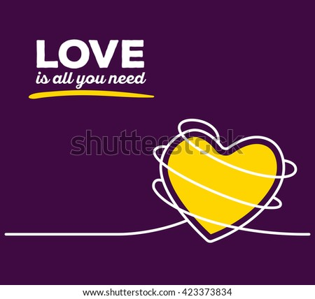 Vector illustration of yellow color heart with white wire and text on purple background. Love is all you need concept. Thin line art flat design of heart for love and feelings theme - stock vector