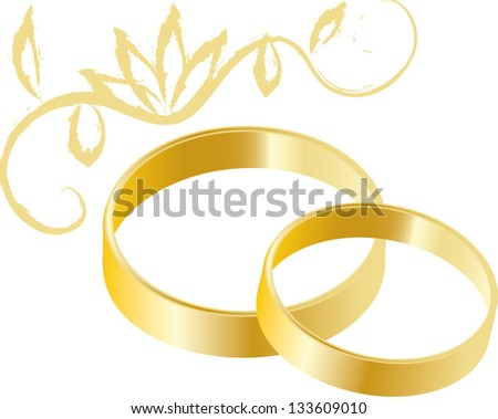 Vector illustration of yellow gold wedding rings on white background - stock vector