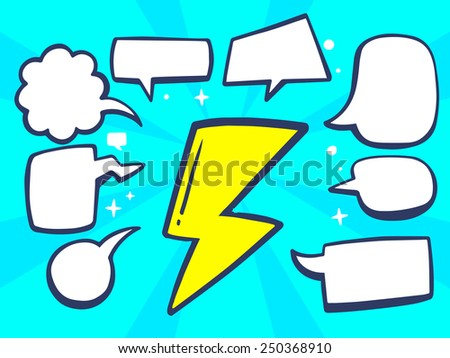 Vector illustration of yellow lightning with speech comics bubbles on blue background. Line art design for web, site, advertising, banner, poster, board and print. - stock vector
